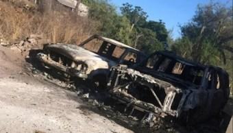 Foto: vehículos incendiados en Sonora, 21 de junio 2019. Twitter @Expresoweb