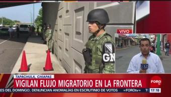 Foto: Vigilan flujo migratorio en la frontera sur