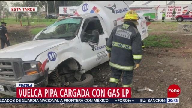 FOTO: Vuelca pipa de gas LP en la México-Puebla, 22 Junio 2019