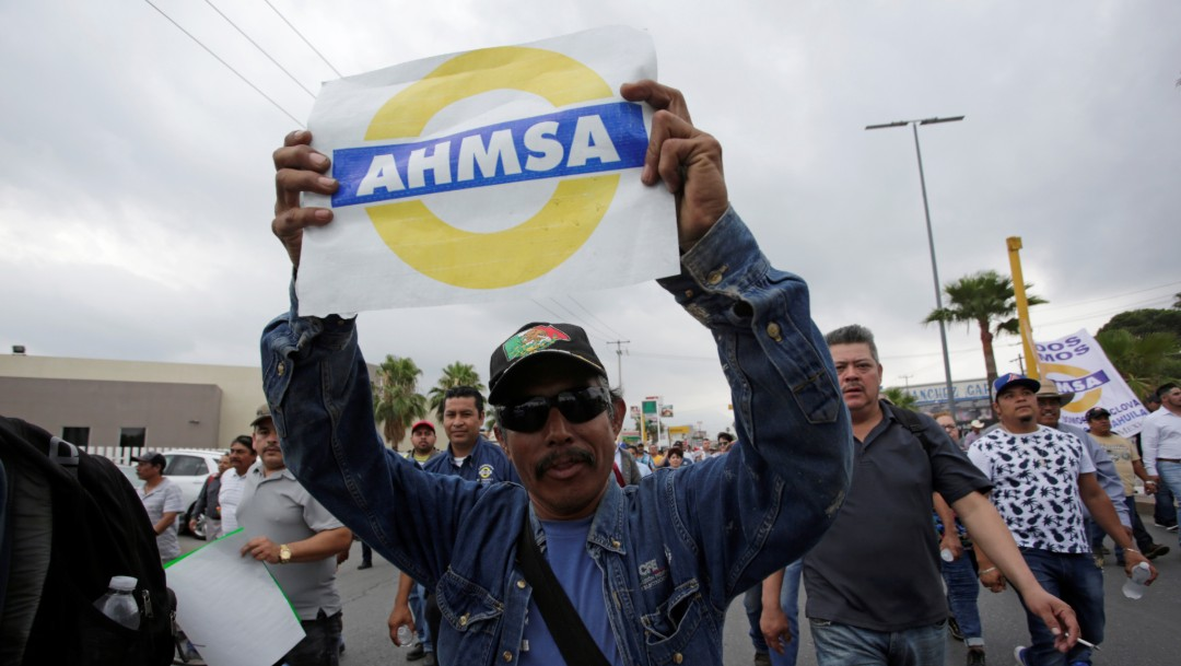 Foto: Trabajadores de AHMSA durante una marcha en Monclova