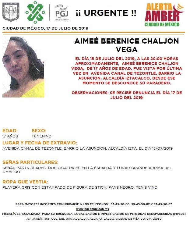 Foto Alerta Amber para localizar a Aimeé Berenice Chaljon Vega 17 julio 2019