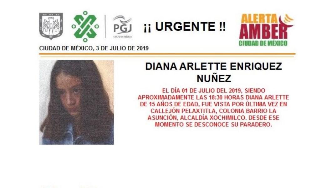 Foto: Alerta Amber para localizar a Diana Arlette Enríquez Nuñez 3 julio 2019