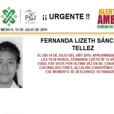 Alerta Amber: Ayuda a localizar a Fernanda Lizeth Sánchez Tellez