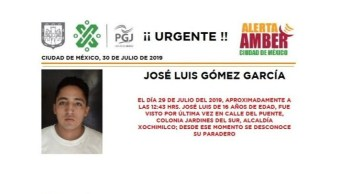 Foto Alerta Amber para localizar a José Luis Gómez García 30 julio 2019
