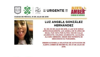 Foto Alerta Amber para localizar a Luz Angela González Hernández 31 julio 2019