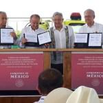 Foto: El presidente Andrés Manuel López Obrador confía en que la próxima semana estén listos los estudios de impacto ambiental del aeropuerto de Santa Lucía, julio 20 de 2019 (Twitter: @SECTUR_mx)