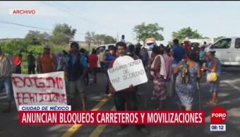 Anuncian bloqueos carreteros y movilizaciones en CDMX