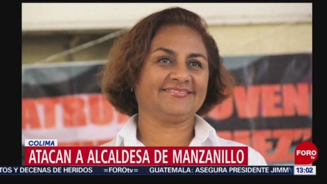 Imagen: La noche del viernes, sujetos armados atacaron a disparos el vehículo en el que viajaba la presidenta municipal de Manzanillo, Colima, Griselda Martínez, el 27 de julio de 2019 (Noticieros Televisa)