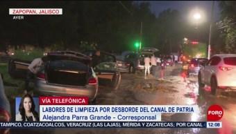 Avanza limpieza tras desbordamiento del canal de Patria, en Guadalajara