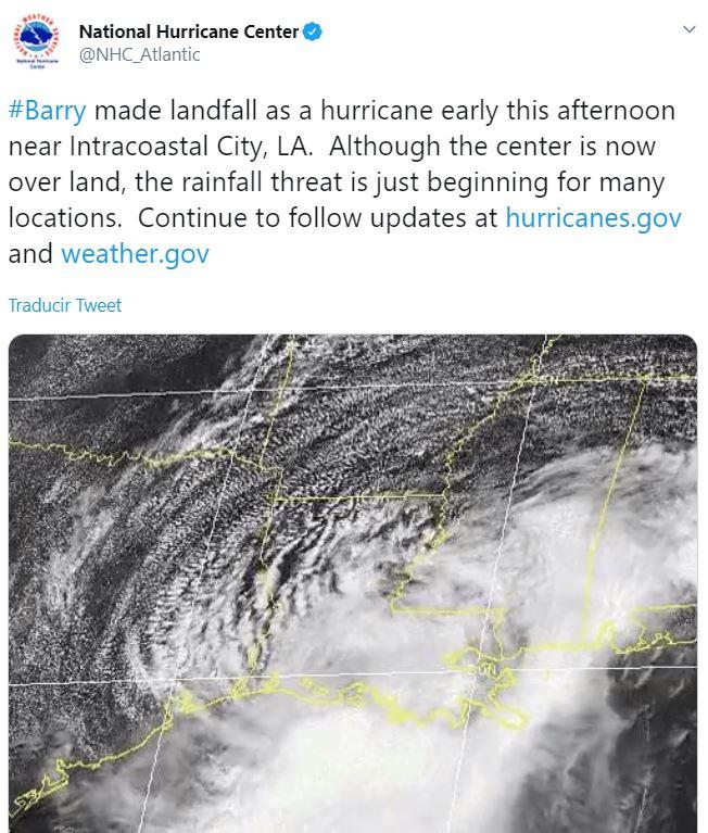 'Barry' toca tierra en Luisiana y se vuelve tormenta tropical