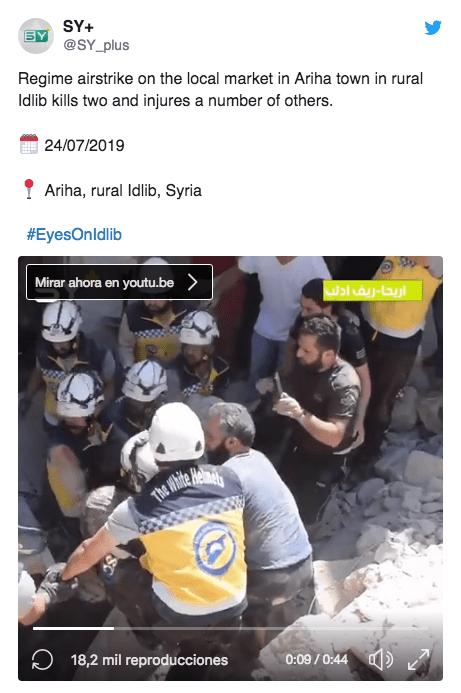Foto: En redes sociales, el SY+ informa las labores de rescate y situación de víctimas en Siria. 28 de julio 2019