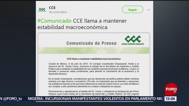 FOTO: CCE reconoce labor de Urzúa, quien renunció a la SHCP