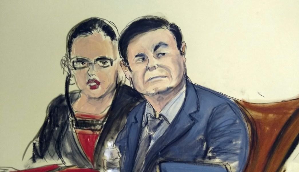 Foto: Dibujo de 'El Chapo' Guzmán durante juicio en Nueva York, 4 de febrero de 2019, Estados Unidos