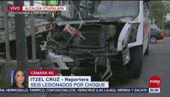 FOTO: Choque deja 6 lesionados en alcaldía Iztapalapa en CDMX, 13 Julio 2019