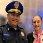 Claudia Sheinbaum reconoce al policía Gerardo Suárez.