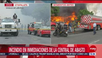 FOTO: Controlan incendio en inmediaciones de la Central de Abasto en CDMX