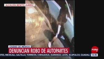FOTO: Denuncian robo de autopartes en la Colonia Periodista, en CDMX, 7 Julio 2019