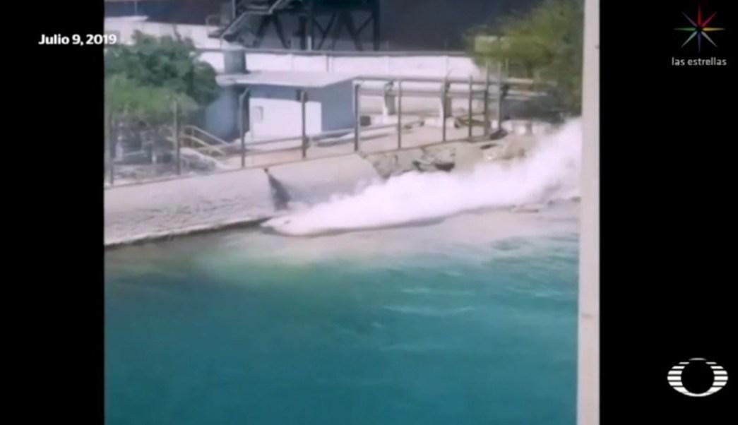 Imagen: Momento del derrame de ácido sulfúrico, 12 de julio de 2019. (Noticieros Televisa)