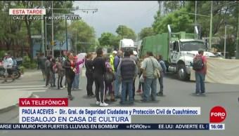 FOTO: Desalojo en casa de cultura en la colonia Paulino Navarro en CDMX