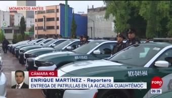 Entregan nuevas patrullas a policías de alcaldía Cuauhtémoc, CDMX