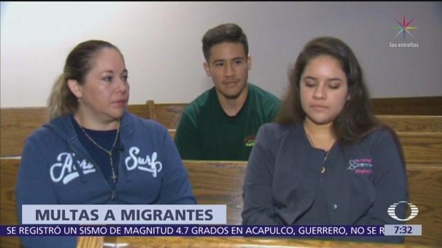 Estados Unidos amenaza a migrantes con multas