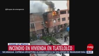 FOTO: Fuga de gas provoca incendio en Tlatelolco, 7 Julio 2019
