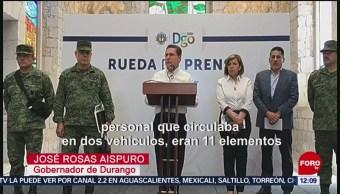 Gobernador de Durango ofrece detalles de emboscada a policías