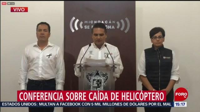 Gobierno de Michoacán esperará peritajes de caída de helicóptero: Aureoles