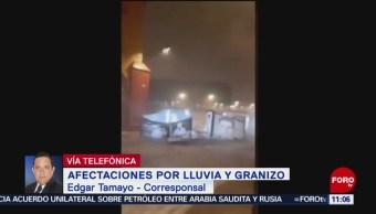 Granizada cubre de blanco calles de San Miguel de Allende, Guanajuato