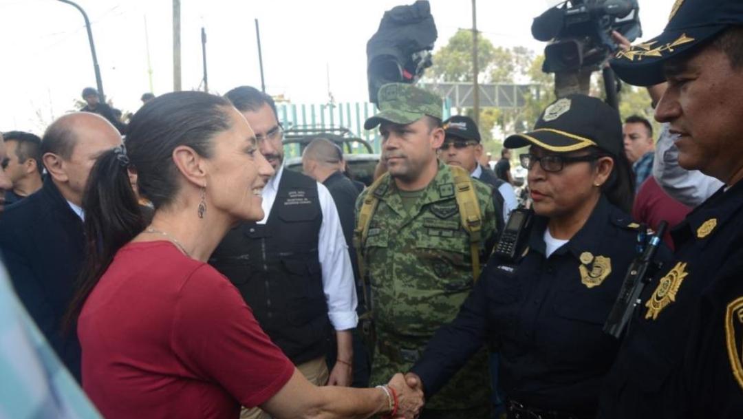 Foto: Claudia Sheinbaum, jefa de Gobierno de la CDMX, estuvo presente en los recorridos de la Guardia Nacional, el 13 de julio de 2019 (Twitter @Claudiashein)