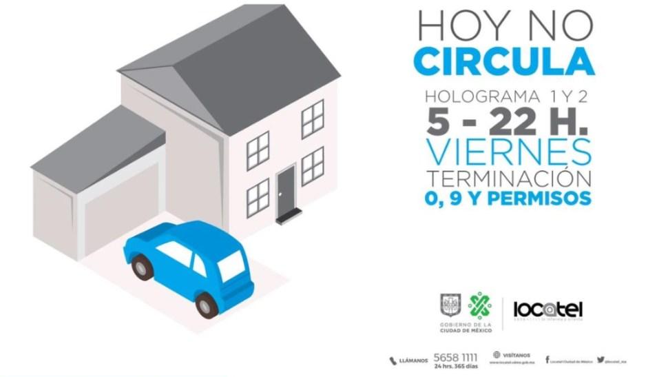 Foto: Este viernes no circulan autos con terminación 0 y 9, engomado azul con holograma de verificación 1 y 2, así como vehículos con permiso, el 11 de julio de 2019 (Twitter @locatel_mx)