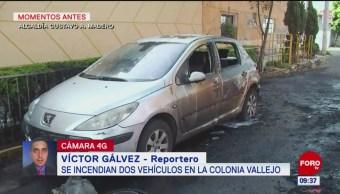Incendian dos vehículos en la colonia Vallejo, CDMX