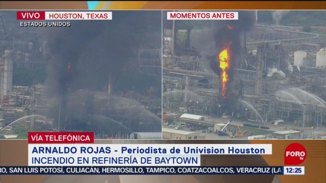 Incendio en refinería de Baytown genera columna de humo negro