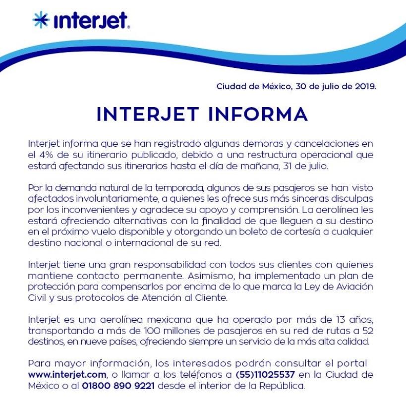 Comunicado de Interjet
