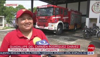 Foto: Primera Mujer Bombero Campeche 19 Julio 2019