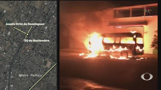 """Foto: Este viernes, los cuerpos de dos choferes de transporte público de la ruta conocida como """"las brujas"""", fueron localizados; ayer habían sido secuestrados y sus unidades, incendiadas"""