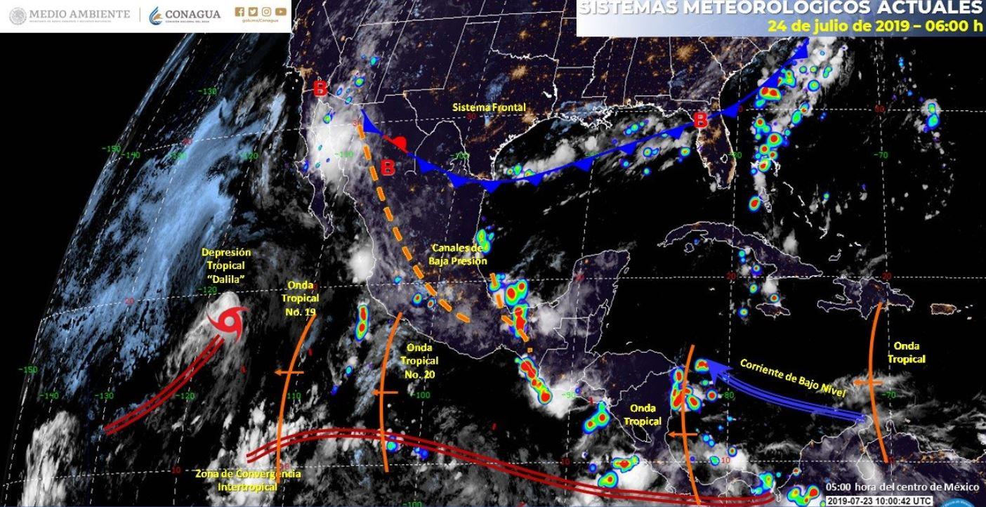 Mapa con el pronóstico del clima para este 24 de julio