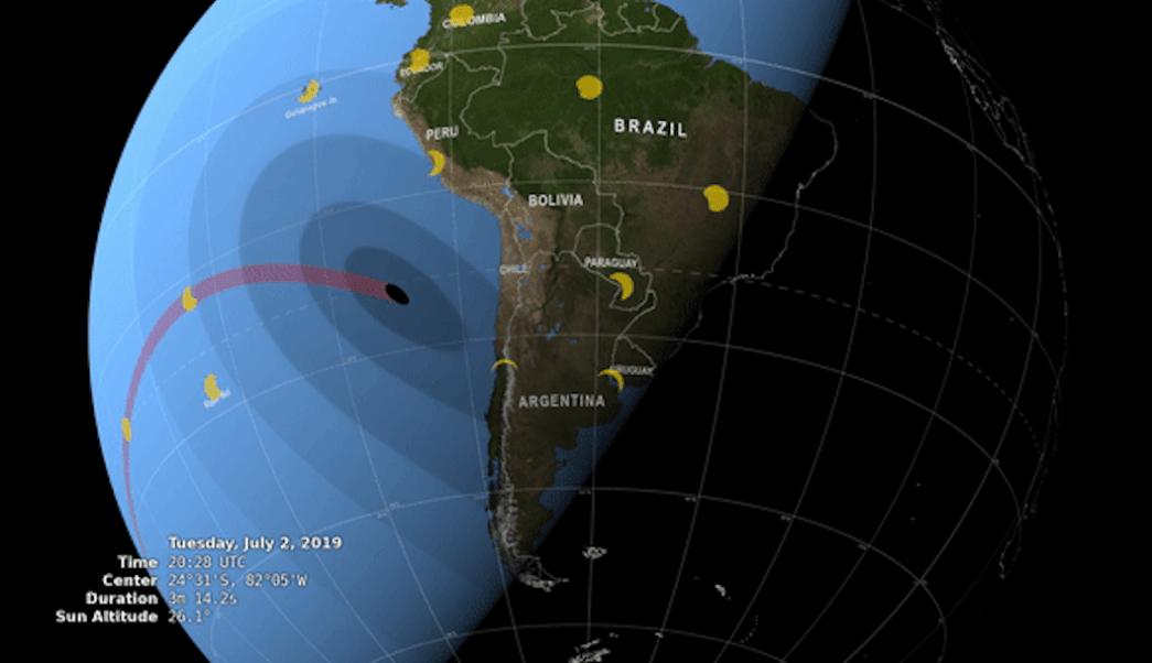 Foto mapa muestra la trayectoria del eclipse total de Sol del 2 de julio