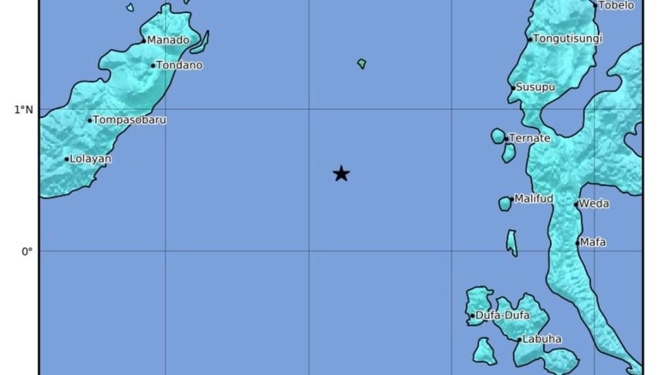 Foto: Mapa del terremoto de magnitud 6.9 que azotó el este de Indonesia, 7 julio 2'019