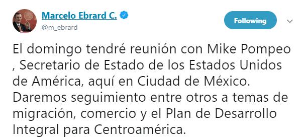 Imagen Mike Pompeo visitará México y se reunirá con Marcelo Ebrard (Twitter)