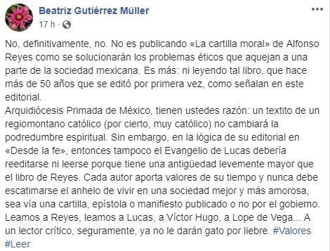 Mensaje de Facebook de Beatriz Gutiérrez Müller sobre la Cartilla Moral