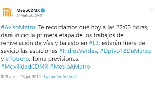 Imagen: Así informaron la suspensión del servicio, 13 de julio de 2019 (Twitter @MetroCDMX)
