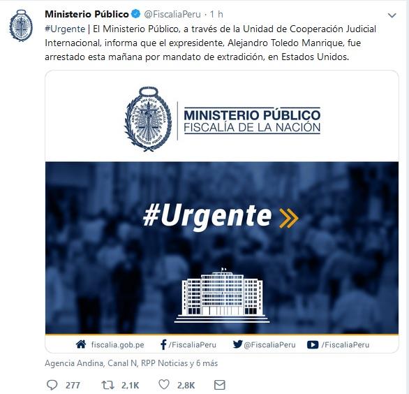Mensaje del Ministerio Público peruano