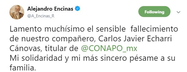 IMAGEN Muere Carlos Echarri, titular del Consejo Nacional de Población; condolencias de Alejandro Encinas (Twitter)