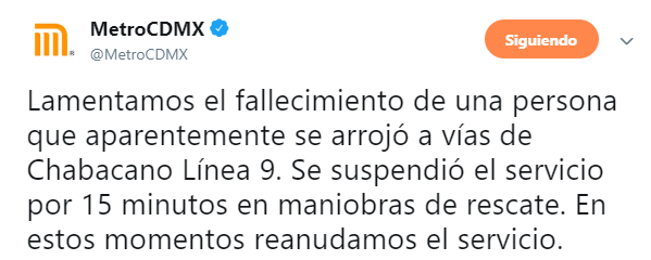 IMAGEN Muere persona que se lanzó a vías en Metro Chabacano (Twitter)