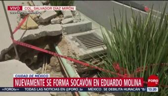 FOTO: Nuevamente se forma socavón en Eduardo Molina en CDMX, 6 Julio 2019