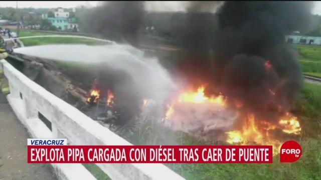 Foto: Pipa Cagada Diésel Cae Puente Vehicular Explota 26 Julio 2019