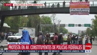 Policías federales protestan en Constituyentes, CDMX