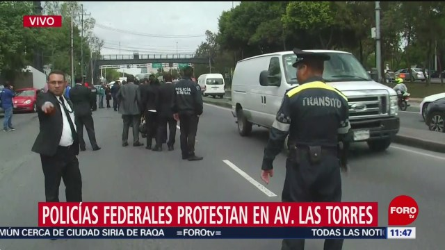 Policías federales protestan en Constituyentes y avenida de las Torres, CDMX