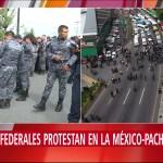 Policías federales protestan en la autopista México-Pachuca